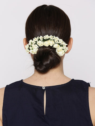 White Floral Gajra Hair Accessories for Women