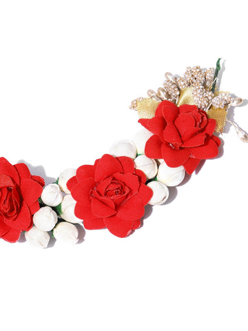 Handcrafted Red Rose And Mogra Bun Hair Accessory