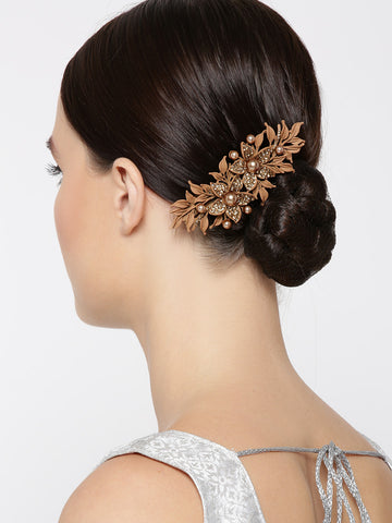 Matte Finish Stones And Pearls Studded Floral Brown Hair Clip
