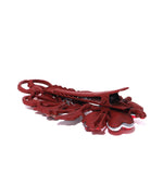 Priyaasi Matte Finish Stones Studded Floral And Leaf Maroon Hair Clip