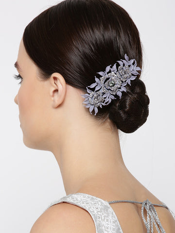 Matte Finish Stones Studded Floral And Leaf Lavender Colour Hair Clip