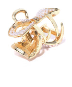 Gold-Toned Beaded Bow Shaped Claw Hair Clip For Women