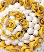 Artificial Yellow Rose And Off-White Buds Bun maker Hair Accessories