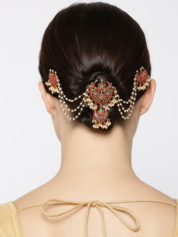Gold Plated Maroon And Green Stone Studded Multistranded Beaded Chains Bun/ Haiir Accessories