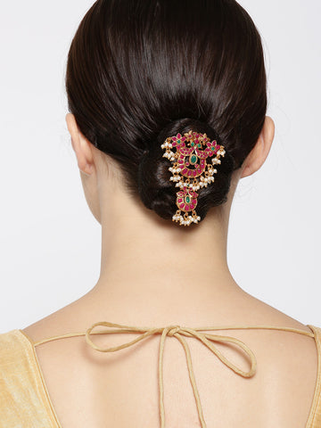 Gold Plated Magenta And Green Stone Studded Off- White Beaded Bun/ Hair Accessories