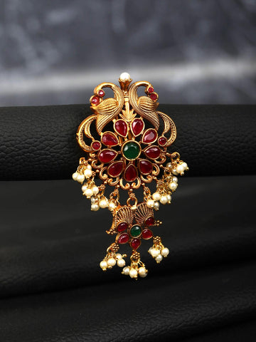 Ruby Beads Gold Plated Peacock Hair Accessories