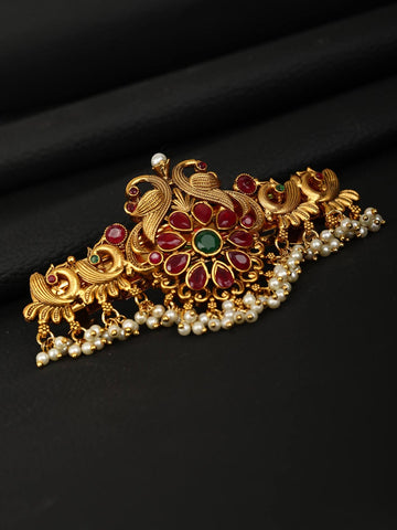 Ruby Beads Gold Plated Hair Accessories