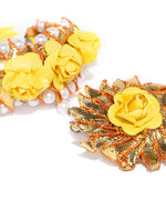 Golden Gota Patti Pink Floral Pattern Pearl Decorated Free Size Hathphool