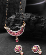 Priyaasi Graceful Leaf Shaped Pink And White American Diamond Mangalsutra Set For Women