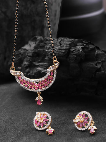 Graceful Leaf Shaped Pink And White American Diamond Mangalsutra Set For Women