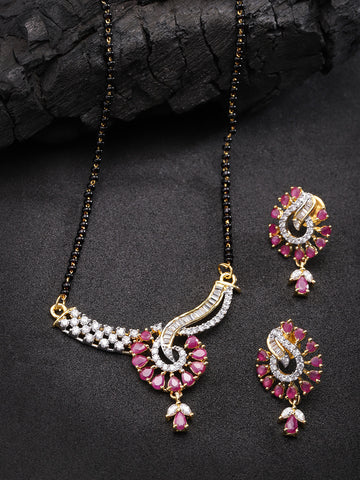 Gold Plated Pink And White Stone Studded Floral Mangalsutra For Women