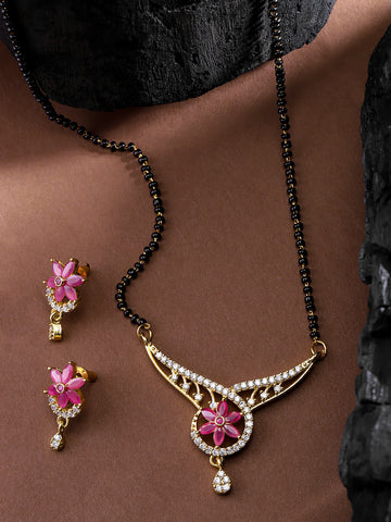 Designer Floral Goldplated Pink Stone Studded Mangalsutra Set For Women