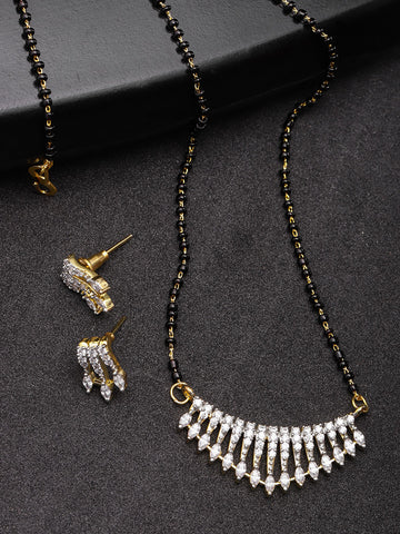 Stylish Gold Plated American Diamond Mangalsutra Set For Women