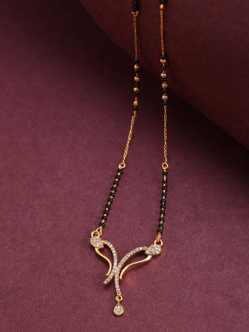 Gold-Plated AD, American Diamond Studded Black Beaded Chain Mangalsutra