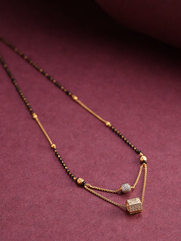 Gold-Plated AD Studded Geometric Pendant Black Beaded Chain Mangalsutra