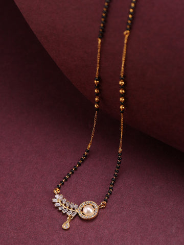 Gold-Plated AD Studded Leaf Designed Pendant Black Beaded Chain Mangalsutra