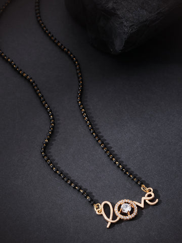 Gold-Plated AD Studded LOVE Message Mangalsutra With Black Beads Chain