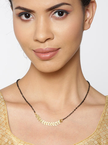 Gold-Plated Leaf Designed Black Beads Chain Mangalsutra