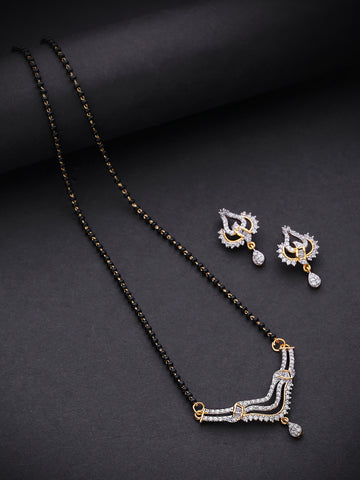 Dual Toned AD Studded Triple Layer Curved V Shaped Mangalsutra Set