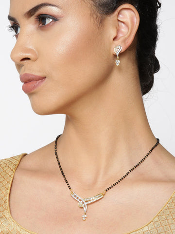 Gold- Plated American Diamond Studded V Shaped Floral Drop Mangalsuta Set