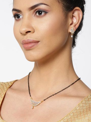 Gold-Plated American Diamond Studded Multilayer Designed Mangalsutra Set
