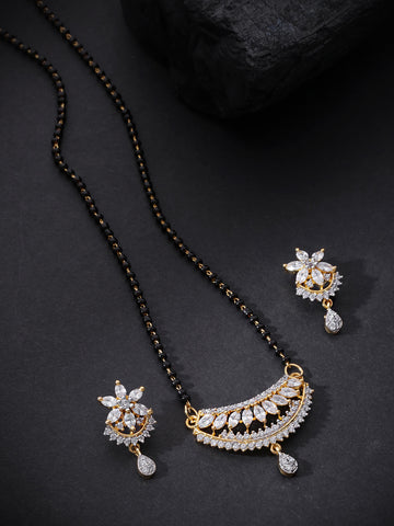 Gold Plated Leaf Pattern American Diamond Studded Mangalsutra Set