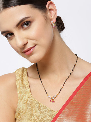 Gold-Plated American Diamond and Ruby Studded Mangalsutra Set with Earrings