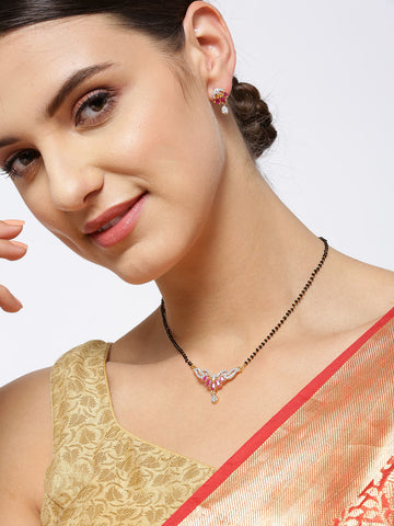 Gold-Plated American Diamond and Ruby Studded Mangalsutra Set with Earrings in Floral Pattern