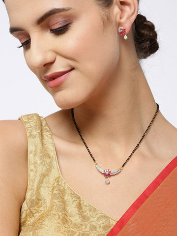 Gold-Plated American Diamond and Ruby Studded Floral Patterned Mangalsutra Set with Earrings