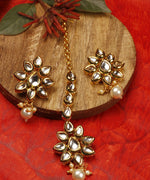 Gold Plated Drop Shaped Kundan Studded Maang Tikka With Earrings Set