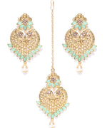 Gold-Plated Mint Green Stone Studded Heart Shape Maang Tikka With Drop Earrings Set