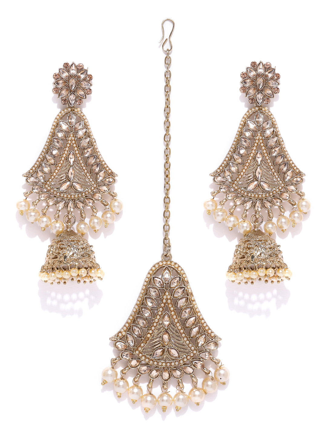 Gold-Plated Stone Studded MaangTikka And Earrings Set with Pearls Drop