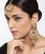 Priyaasi Gold-Plated Stone Studded MaangTikka And Earrings Set with Pearls Drop