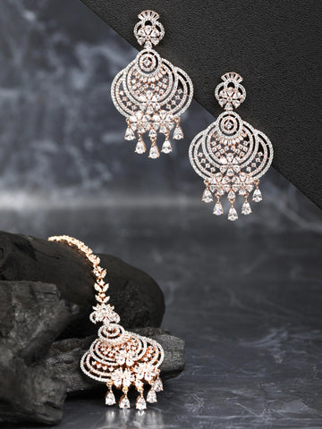 Rose Gold-Plated American Diamond Studded Floral inspired MaangTikka And Earrings Set