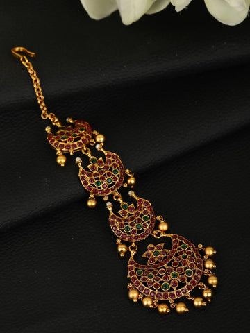 Beads Stones Gold Plated Maang Tikka