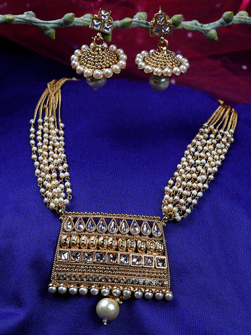 Kundan Beads Pearls Gold Plated Jewellery Set