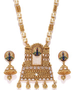 Priyaasi Gold-Plated, Pearls and Kundan Studded Peacock Inspired Jewellery Set