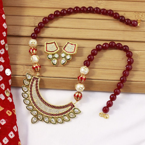 Maroon Stones Beads Gold Plated Jewellery Set