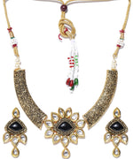 Black Stones Kundan Pearls Gold Plated Jewellery Set
