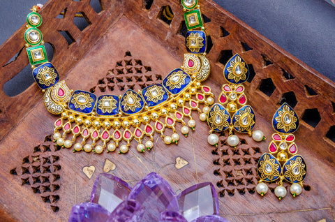 Multi-Color Kundan Ruby Beads Gold Plated Meenakari Jewellery Set