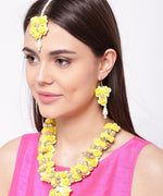 Yellow Pearls Beads Gold Plated Floral Haldi Jewellery Set