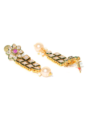 White Beads Pearls Ruby Kundan Gold Plated Jewellery Set