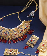 Priyaasi Gold-Plated Stones Studded Choker Set and Mangtika with Drop Beads in Red Color