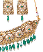 Emerald Beads Stones Gold Plated Choker