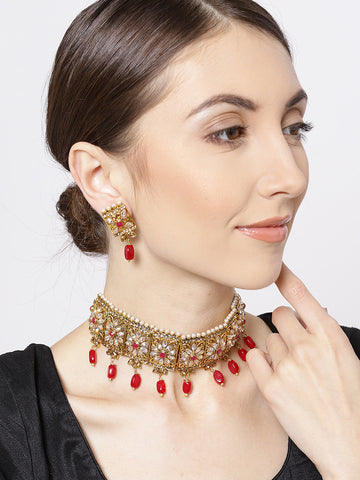 Red Kundan Gold Plated Square Choker