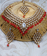 Kundan Ruby Gold Plated MaangTika Jewellery Set