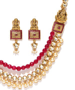 Kundan Ruby Pearls Gold Plated Temple Jewellery Set
