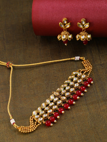 Red Pearls Kundan Beads Gold Plated MaangTika Choker