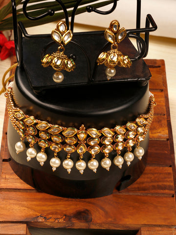 White Pearls Kundan Gold Plated Choker