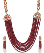 Priyaasi Red Beads Kundan Gold Plated Jewellery Set
